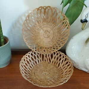 Pair of Wicker Basket Bowl Bread Display Woven Rattan Wall Decoration