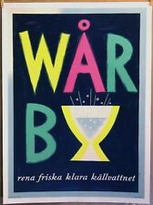 "WARBY '55 19.8"" X 27.8"" linen original Swedish advertising poster Gunnar Orrby"