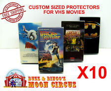 10x VHS MOVIE CLEAR PLASTIC PROTECTIVE BOX PROTECTORS SLEEVE - ARCHIVAL QUALITY