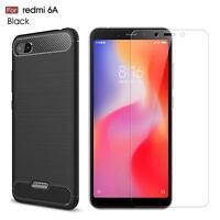 For Xiaomi Redmi 6A Case Carbon Fibre Gel Cover & Glass Screen Protector