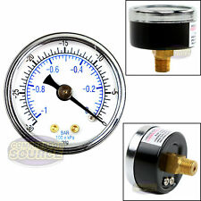 "Quality 1/8"" NPT 1.5"" Vacuum Air Pressure Gauge 0 -30 PSI Center Back Mount New"