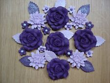 PURPLE ROSE BOUQUET Edible Sugar Paste Flowers Cup Cake Decorations Toppers
