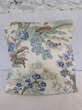 Pretty Cushion Cover, Birds, Bridges, Flowers, Blues, Greens, Cream, Beige.