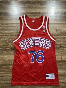 Vintage Philadelphia 76ers Shawn Bradley 90s Champion NBA Basketball Jersey 36