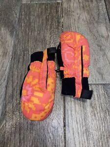 Obermeyer Preschool Small S Orange Multi Mittens Gloves Ski Winter