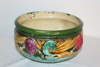 Antique Majolica Pottery Hanging Pottery Planter Bowl Colorful Dolphins Flowers