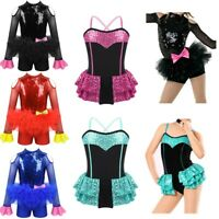 Girls Modern Tap Jazz Dance Tutu Leotard Costume Kids Ballet Dress Dance Wear