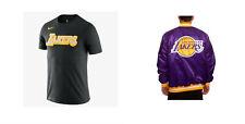 Lakers Satin Black LABEL Starter Jacket MEDIUM Purple [LS930168] & NIKE SHIRT