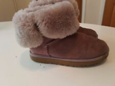 Ugg Bailey Button soft pink Suede Boots sheepskin UK 5 US 7