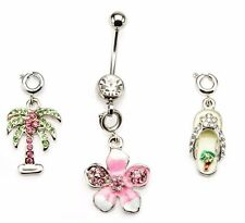 Belly Button Ring Navel 14g 7/16 Navel Palm Tree, Flower Flip flop Gem interchan