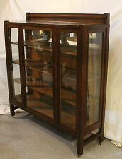 Antique Mission Oak Arts and Crafts Curio China Cabinet