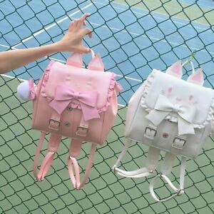 Lolita Sweet Girls Broderie Cat Backpack Shoulders Bag Japanese Preppy Style