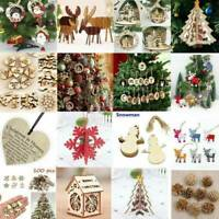 Wooden Wood Christmas Xmas Tree Bauble Pendants Hanging Ornament DIY Decorations
