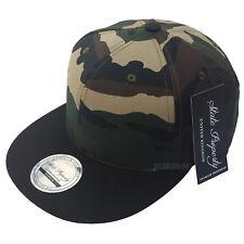NEW CAMOUFLAGE SNAPBACK CAP BASEBALL CAMO ARMY PLAIN ERA FITTED FLAT PEAK HAT