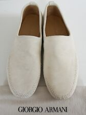 Authentic GIORGIO ARMANI Beige Suede Loafer Slip On Shoes Moccasins EU-42.5 US-9