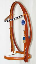 STUBBEN 3000 Limerick Split Head WHITE PADDED French Cavesson Bridle HONEY TAN F