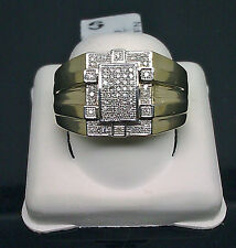 10K Men's Yellow Gold Ring With Paved Diamond 0.20CT/ Band