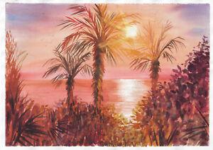original painting A3 140PO art samovar modern Watercolor landscape sunset sea
