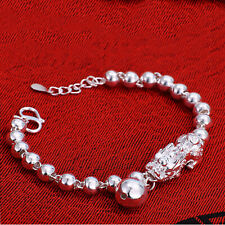 Pure S990 Sterling Silver Chain Bless Lucky Beads Link 貔貅 Pixiu Bracelet / 14g
