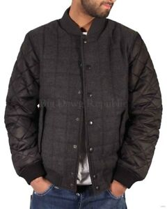 Men's Quilted Padded Baseball Bomber Jacket, New Time Is Money Hip Hop Star Era
