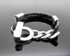 316L Stainless Fashion Link & Leather Cremation Memorial Keepsake Urn Bracelet