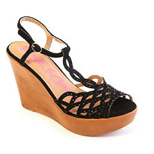 ZIGI Rock and Candy shoes Rubi Fashion Wedge Heel Sandals Size 9 M black