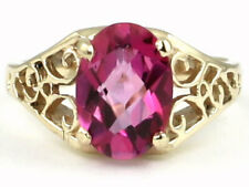 Pure Pink Topaz, 10KY or 14KY Gold Ladies Ring-Handmade, R005