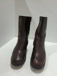 Robert Clergerie Womens Brown Leather Wedge Ankle Boots Size 7 M