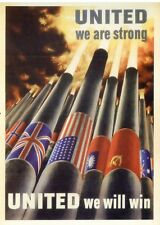 post card War WW2 Vintage style advertising United we are strong will win poster