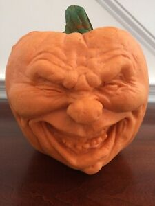 "Vintage Soft Foam Halloween Pumpkin w/ Face Squishy 8"""