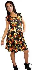 LADIES CUTE VOODOO DOLL PRINT ROCKABILLY SWING SLEEVELESS DRESS  GOTH PUNK