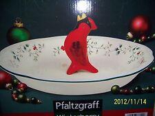 "Pfaltzgraff Pie Pan Plate 10-1/2"" Winterberry wCardinal Pie Bird NIBwTags"