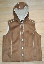 Jones New York Womens Faux Sheerling Suede Hooded Sleeveless Fall Vest 2XL 18 20