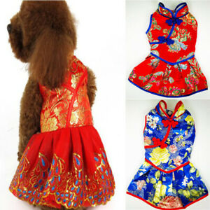Pet Puppy Cat Tang Suit Chinese Style Skirt Clothes New Year Dog Dress Costume