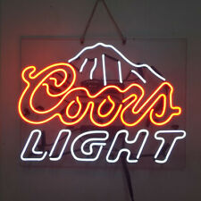 Real Glass Display Neon Signs Coors light mountain 19X15-010