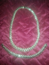 *14k yellow gold graduated link necklace and bracelet set - total 65.3 gm