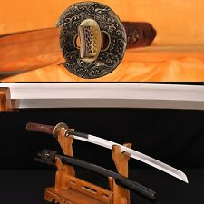 Straight Hamon Clay Tempered Folded Steel Blade Japanese Dragon Sword KATANA
