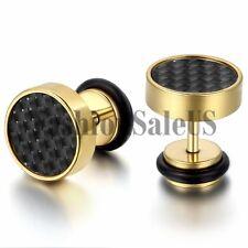 8mm Wide Men's Gold Stainless Steel Carbon Fiber Ear Studs Cool Earrings 2PCS