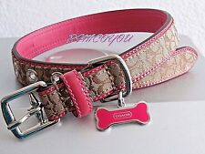 COACH SIGNATURE KHAKI PINK  WITH PINK BONE CHARM DOG COLLAR MEDIUM M MEDIUM