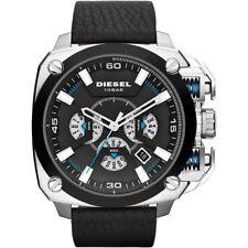 DIESEL BAMF Chronograph Black Dial Black Leather Men's Watch DZ7345