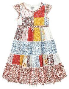 Girls Kids Princess Patchwork  Pom Pom Sun Dress