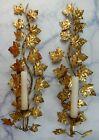 Vintage Tole Vine Florentine Gilt Wall Candle Sconces
