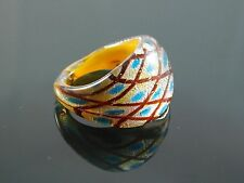 Murano Glass Silver Foiled Lampwork Handmade Multicolor Ring US 8.25""