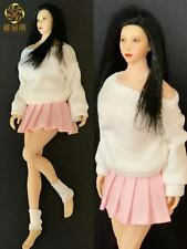 "1/12 White Long-sleeved T-shirt Pink Pleated Skirt Set F 6"" PH Female Figure"