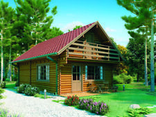 1000sq Ft 19x34split Level Log Cabin Guest Vacation Pool House Diybuilding Kit