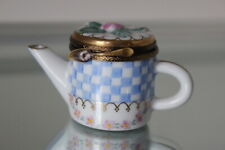 Limoges France Peint Main Teapot Trinket Box / Signed