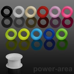 Silikon Flesh Tunnel Piercing Ohrring extra weich mit hohen Rand 3-16mm NEU
