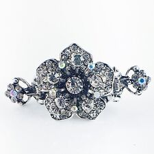 USA Hair Claw Clip Hairpin Rhinestone Crystal Vintage Barrette Flower Silver A07