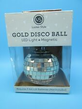 Gold Disco Ball LED Light Magnetic Base Spinning Lighted Party Ball NIB
