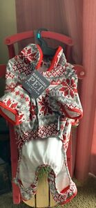 NWT Soft Berkshire Pet Dog Pajamas Size Small Red/white/ Tan With Snowflakes